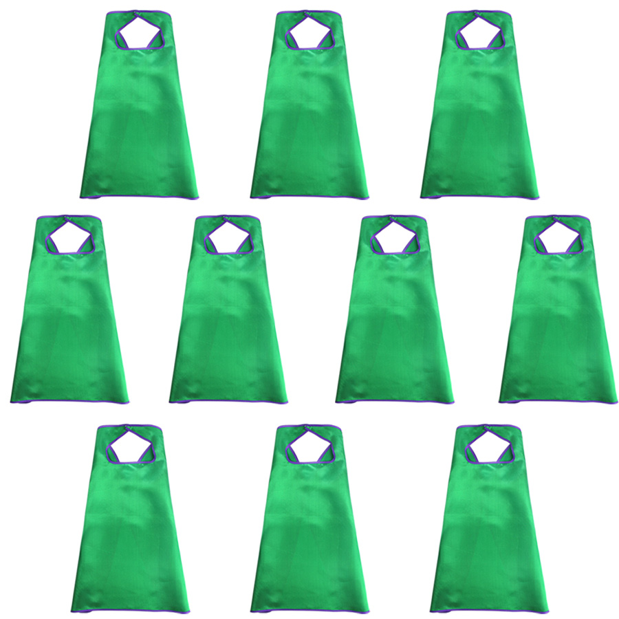 10 PCs SPECIAL 70 70 cm Plain Green Capes With Velcro Collar Boys Toys Birthday Party Shower Costume For Boys Halloween in Boys Costumes from Novelty Special Use