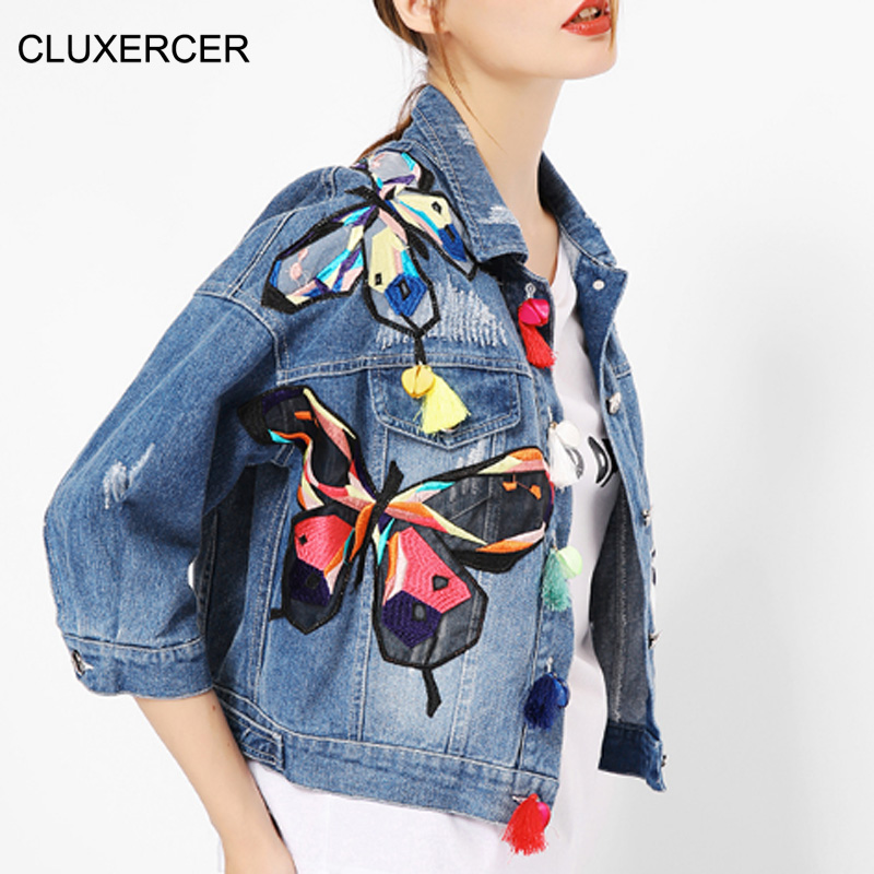 CLUXERCER Brand denim jacket women fashion embroidery butterfly button high wasit short femail denim jackets women clothing