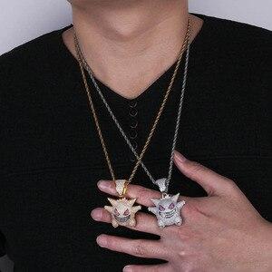Image 4 - Jinao hip hop jóias máscara gengar colar nova chegada pingente de cobre zircão cúbico colar congelado para fora corrente presente dos homens