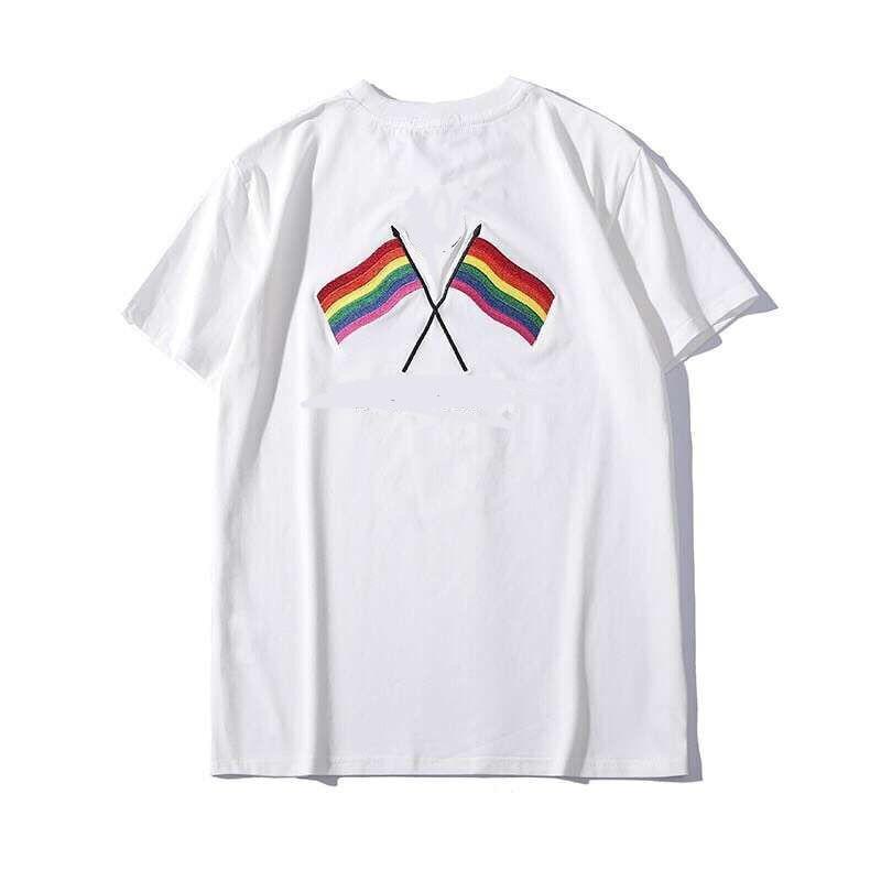 Été col rond arc-en-ciel Version dos brodé coton 100% Famale T-shirt lâche manches courtes femmes T-shirt