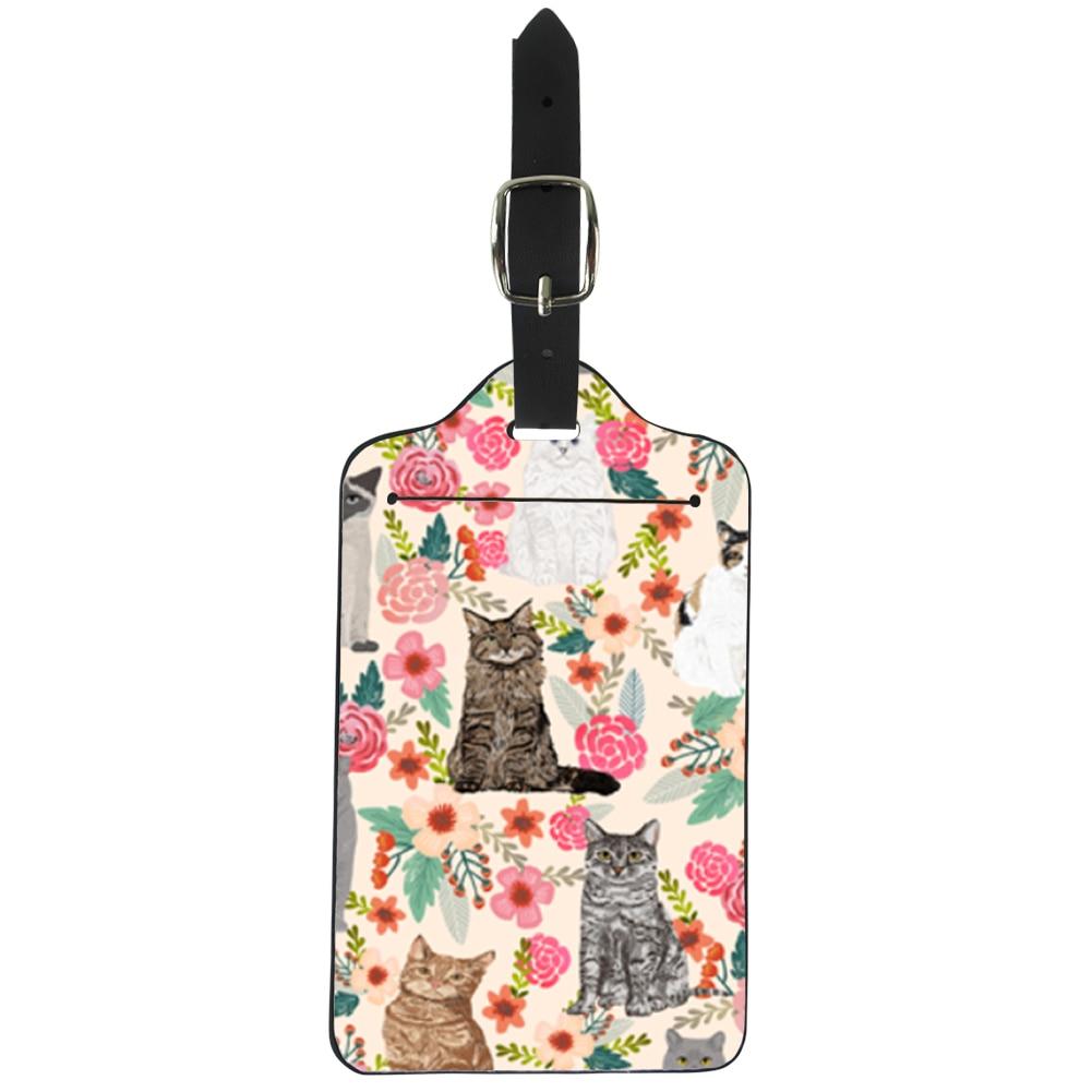 ELVISWORDS Cat Garden Flowers Luggage Tags Women Travel Accessories Watercolor Florals Vintage Style Cute Lady Kitten Kitty
