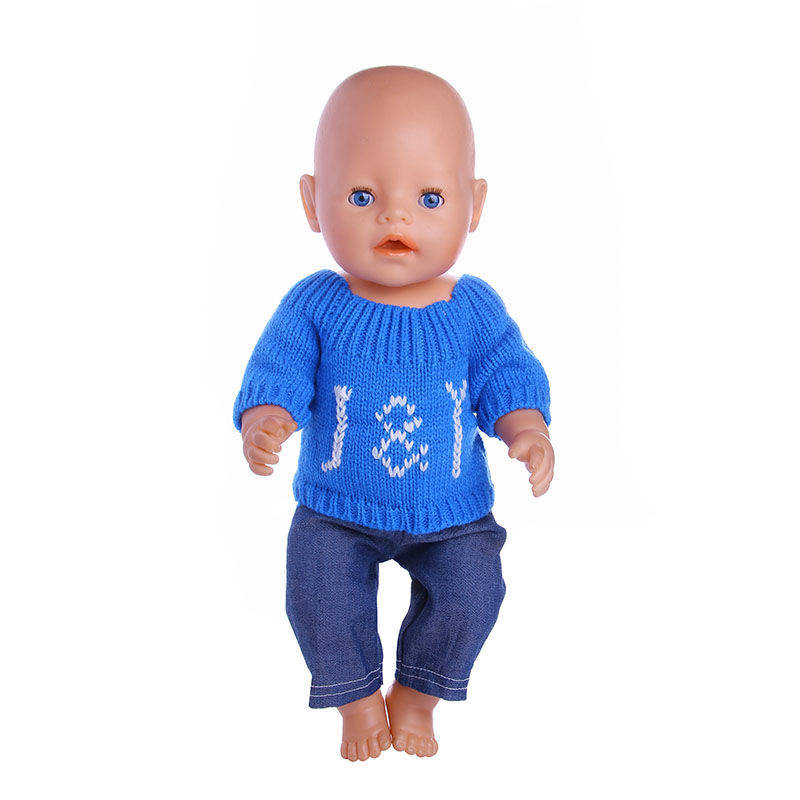 Blue sweater+Pants Doll Clothes Wear Fit 43cm Baby Born zapf Doll,Children best Birthday Gift 2color choose leisure dress doll clothes wear fit 43cm baby born zapf children best birthday gift only sell clothes