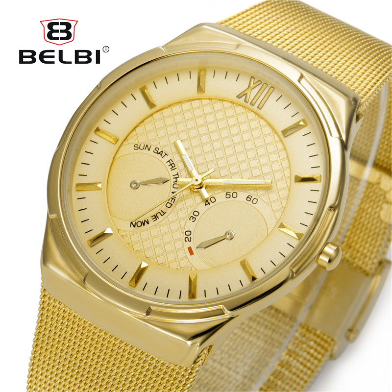 BELBI Luxury Watches Men Blue Stainless Steel Ultra Thin Watches Men Classic Quartz Men's Wrist Watch Relogio Masculino ctpor luxury watches men black stainless steel ultra thin watches men classic quartz date men s wrist watch relogio masculino d