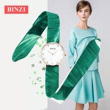 Binzi женщины часы люксовый бренд золотые кварцевые часы женские часы дамы Лента ткань часы женские наручные часы Relogio feminino 2017