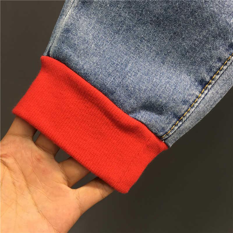 2020 wiosna nowy mody farba w sprayu drukowany napis wysokiej talii luźne stopy szarawary dżinsowe kobiet