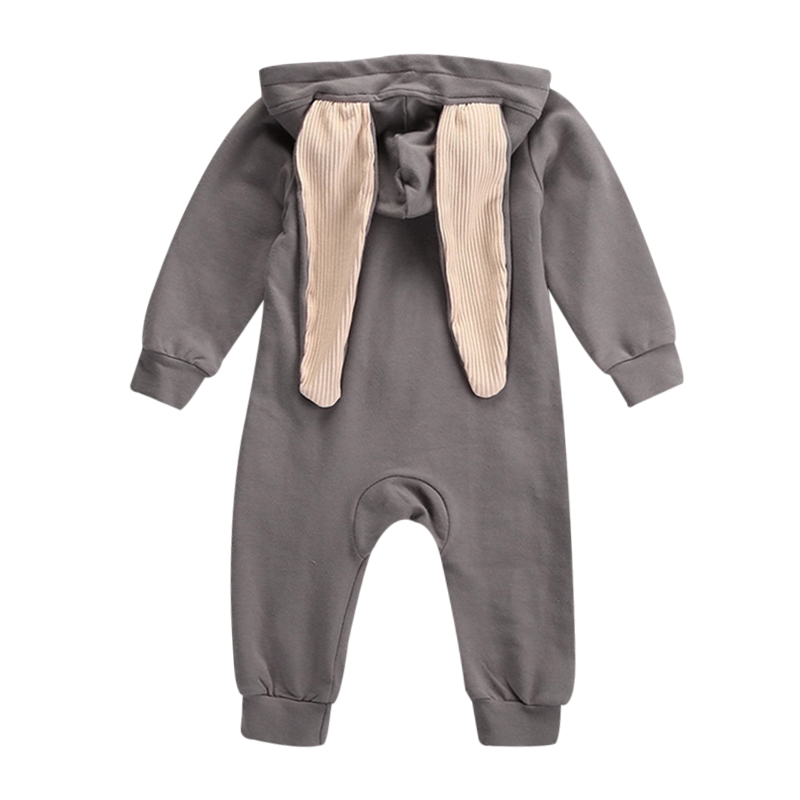Fashion 2018 Baby Romper Newborn Baby Girl Boy Rabbit 3D Ear Onesie Outfits Baby Jumpsuit Zipper Hoodie Rompers Clothing