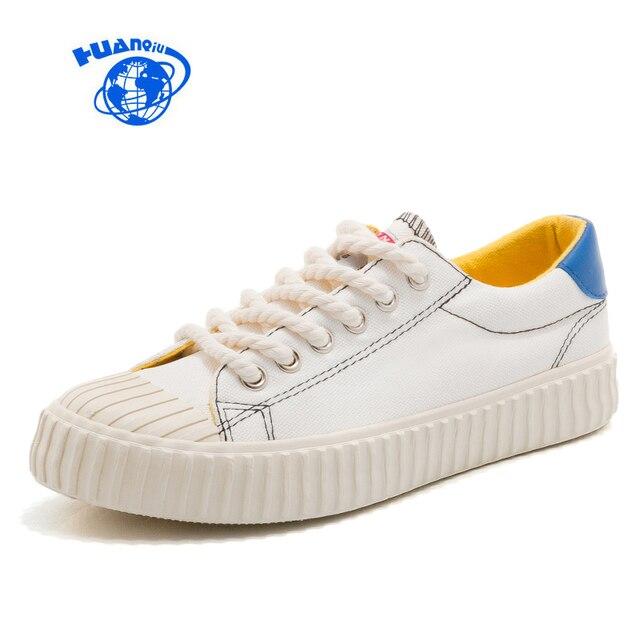 e6d7c3bba41f60 HUANQIU Toile Chaussures Femmes Casual Chaussures Collège Étudiants  chaussures de Sport Chic Couleurs Mélangées Plat Talon