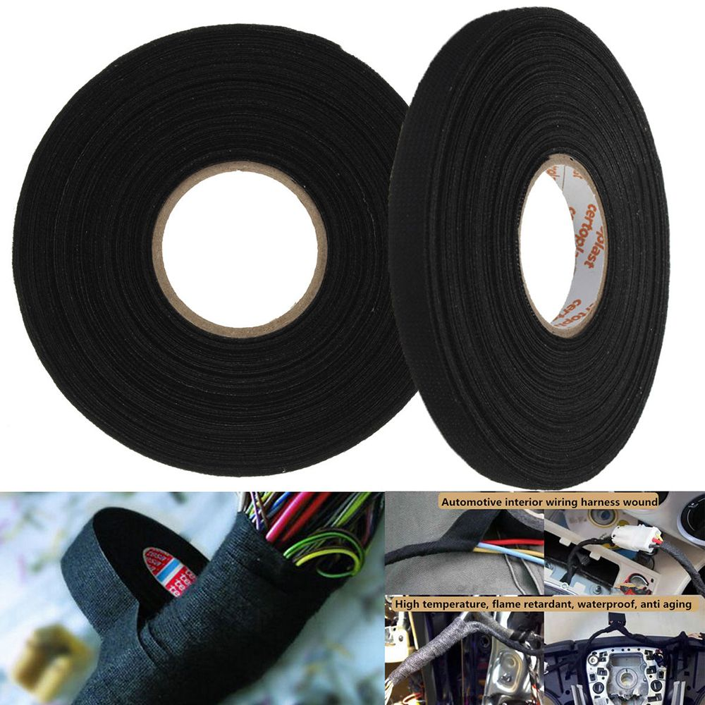 1Pcs Fabric tape Black Adhesive Cloth Fabric Tape Cable Looms Harness 25m x 9mm x 0.3mm fpvo 1 black fabric 70