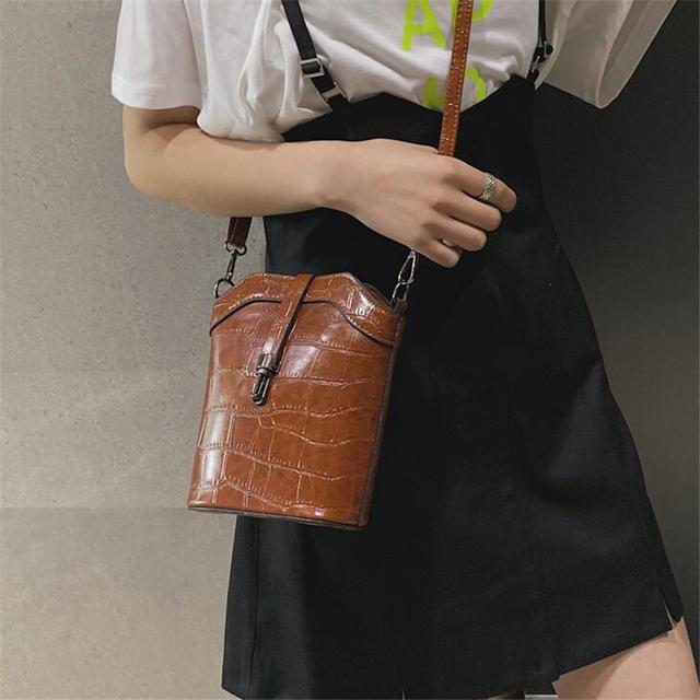 Vintage Pu Leather Bucket Women Handbag