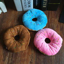 ФОТО 13cm sightly pet chew cotton donut play toys lovely pet dog puppy cat tugging chew squeaker quack sound toy chew donut play toys