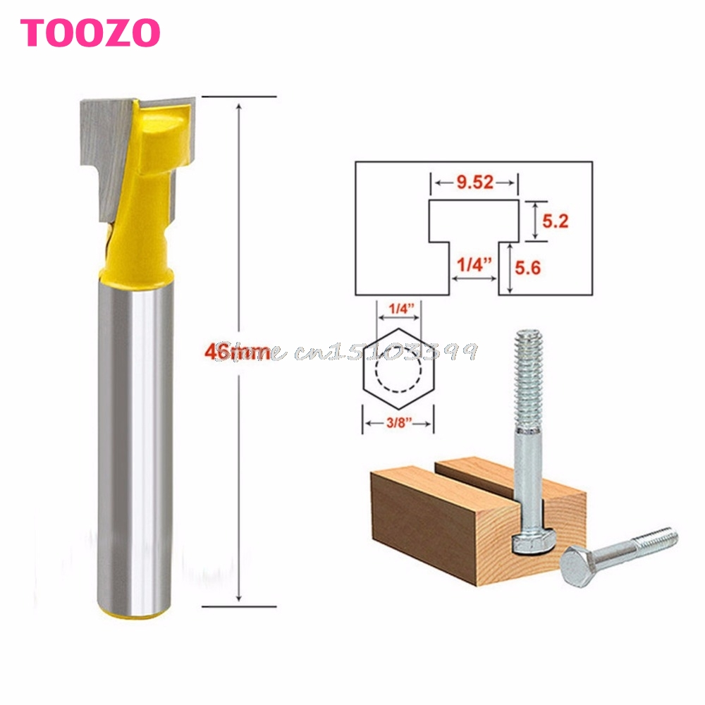 3/8'' T-Slot Cutter 1/4'' Shank Steel Handle Milling Woodworking Router Bit #G205M# Best Quality 2pcs milling cutters 3 8 t slot cutter 1 4 shank steel handle milling woodworking router bit yellow blue cutters for wood