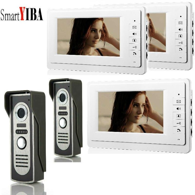 "Gerade Smartyiba Neue 7 ""wired Video Tür Telefon Türklingel Home Security Intercom System 2 Kamera Mit 3-monitor"
