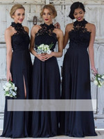 CHDRESSILYME Simple Cheap Dark Navy A Line Bridesmaid Dresses long dress Halter Lace Side Slit Maid Of The Honor Dresses dr16