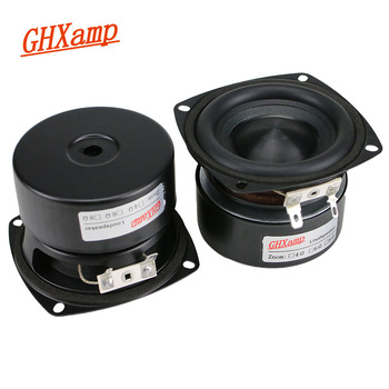 GHXAMP 3 inch Woofer Subwoofer Speaker 4ohm 25W Hifi Square Bass Speaker Black Alumina Ceramic Cap Rubber Edge 2pcs 1