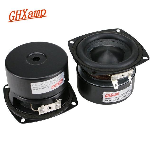 GHXAMP 3 inch Woofer Subwoofer Speaker 4ohm 25W Hifi Square Bass Speaker Black Alumina Ceramic Cap Rubber Edge 2pcs 1