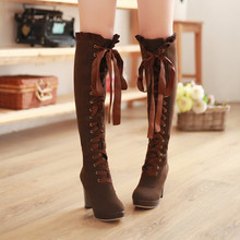 2016 Women's Fashion Lace Up Knee High Boots Thick Bottom High Heel Platform Combat Boots Black Brown Plus Size