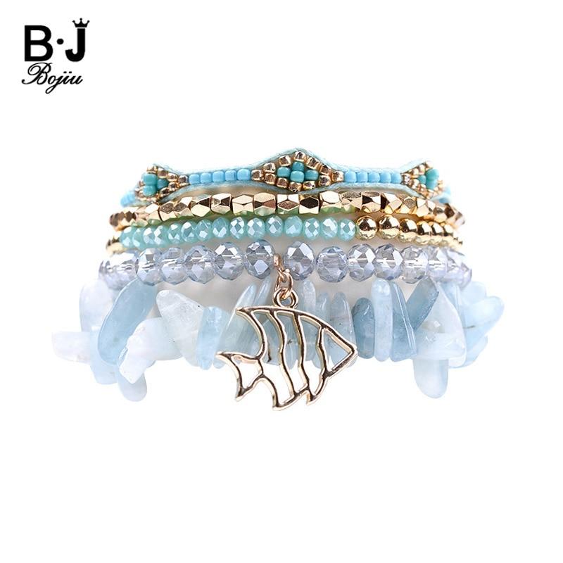 BOJIU 5 Pcs/Set Multilayer Beaded Charm Bracelets For Women Crystal Natural Stone Bracelet Sets New Gold Fish Bracelet BCSET103