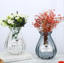 Modern Color Desktop Glass Vase Ornaments Crafts Tabletop Transparent Flower Terrarium Hydroponic Container Wedding Decor
