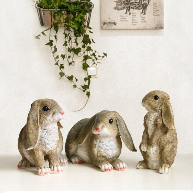 Simulation Cute Cartoon Rabbit Statues Collection Resin Animal Figurines  Ornament Garden Micro Landscape Decoration