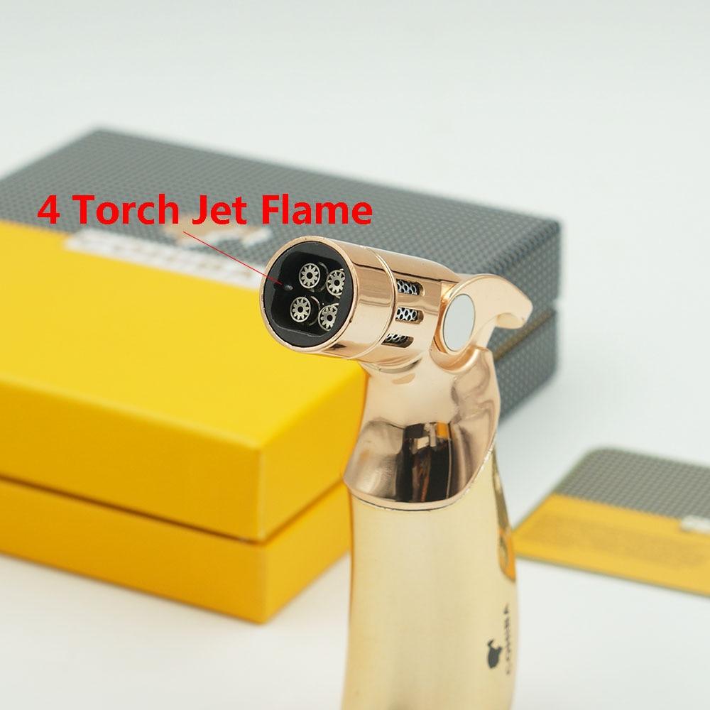 Cohiba Torch Lighter Triple Jet Flame With Cigar Punch Emas Daftar Perfore Silver Keychain Pembolong Cerutu Gun Logam 4 Api Gas Butana Rokok Tahan Angin Korek