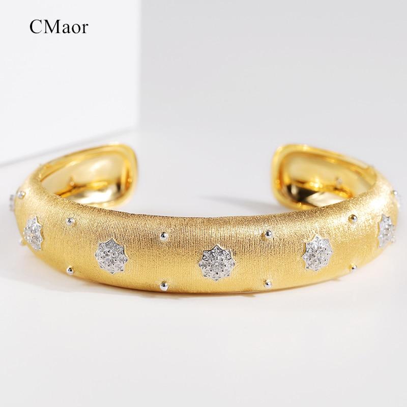 CMajor bijoux en argent Sterling étoile brillante luxe Vintage palais Style Bracelets de manchette 13mm largeur deux tons bracelet pour les femmes