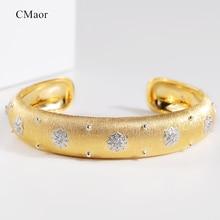 CMajor סטרלינג כסף תכשיטי זוהר כוכב יוקרה בציר ארמון סגנון קאף צמיד 13mm רוחב שני טון צמיד לנשים