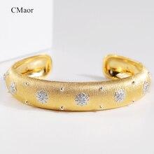 Cmajor prata esterlina jóias brilhante estrela luxo estilo palácio vintage manguito pulseira 13mm largura dois tons pulseira para mulher