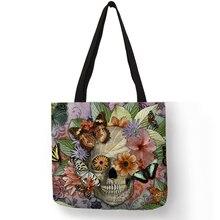 Дропшиппинг Цветочный Череп Индивидуальные сумка льняная сумки для женщин леди Эко многоразовые хозяйственные дорожные