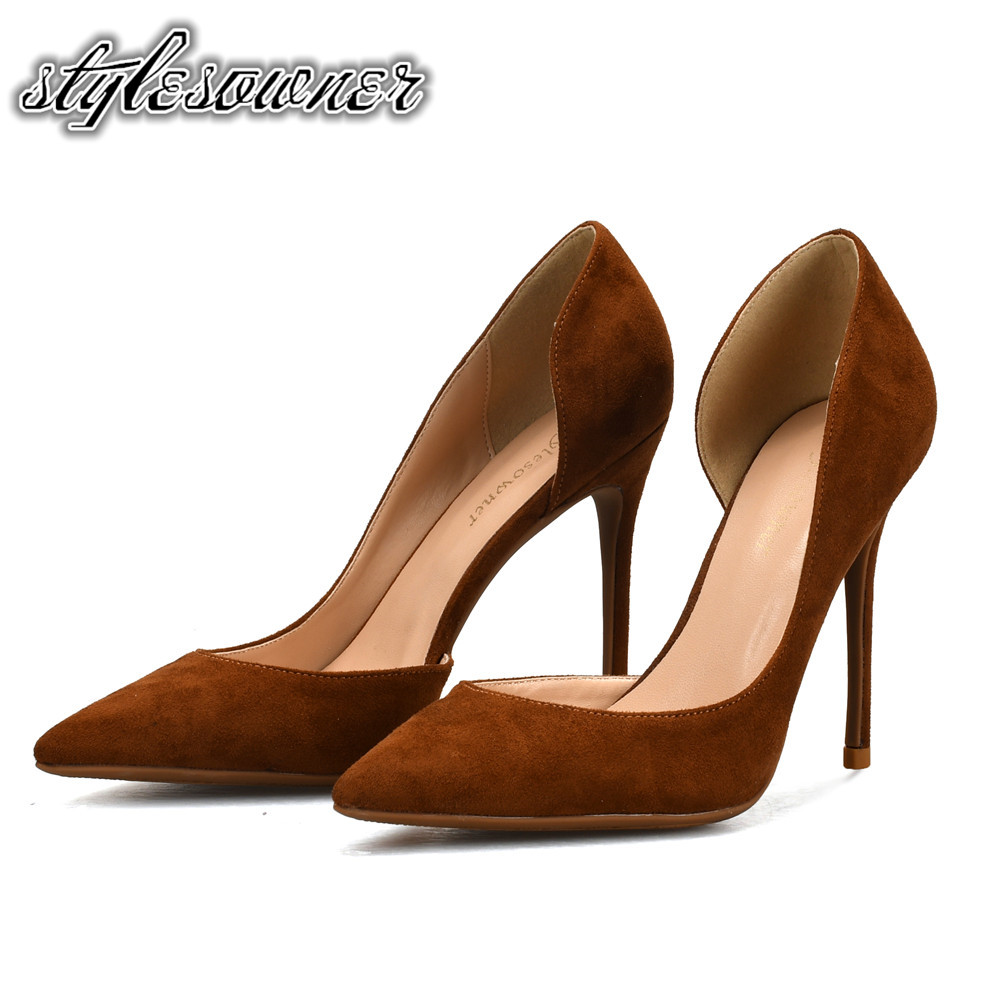Stylesowner New Coming Pointed Toe Shallow Solid Color Pumps Dress Single Shoes for Woman PU Slip-on Large Size Thin Heels Shoes genuine large size single toe head high heels shallow mouth thin heel velvet shoes woman star with w824