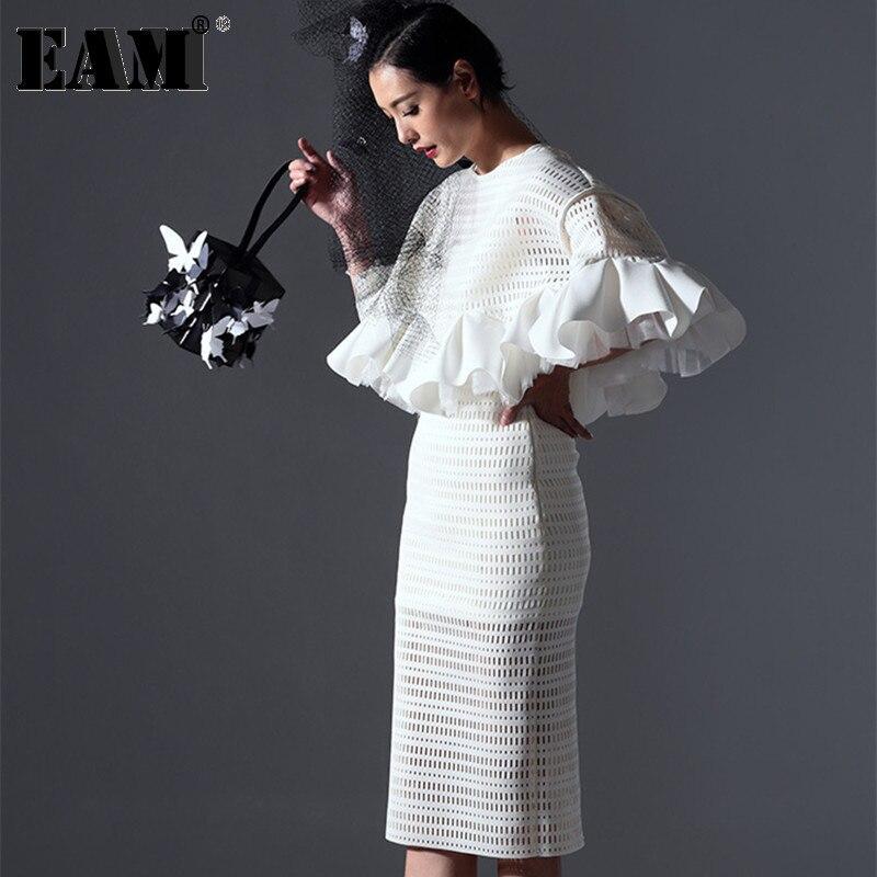 [EAM] 2020 Spring High Quality Women's Elegant Original Design High-end Custom Flounced 2020 Hollow Space Cotton White AZ13S