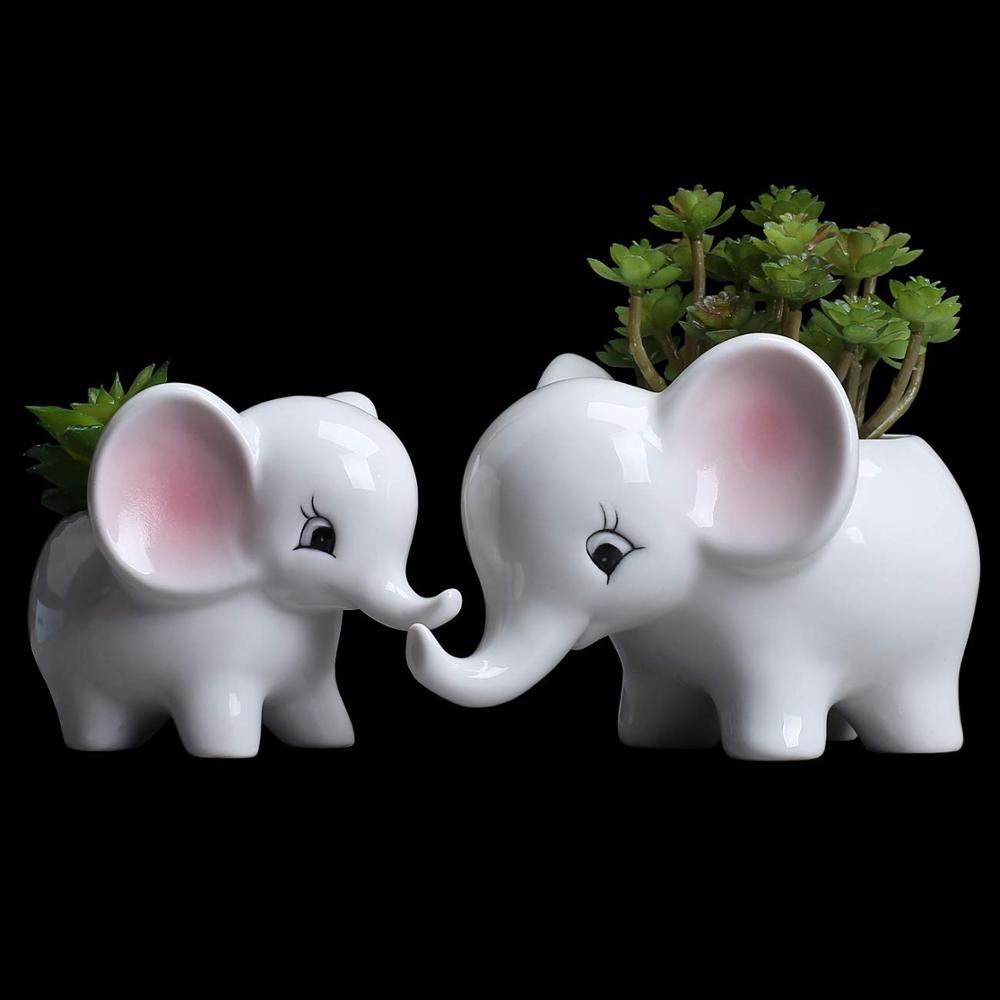 DIY Ceramic Glazed Elephant Flower Pot Free Combination White Flowerpot Planter Succulents Plant Desktop Garden Pots for Flowers