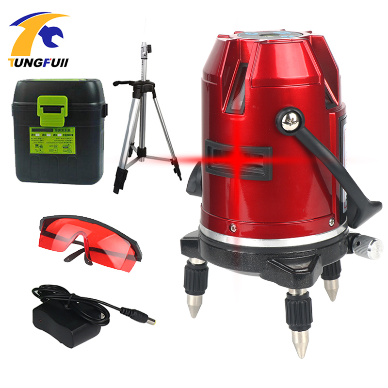 Tungfull 5 Lines 6 Points Laser Level Automatic Self Leveling 360 Vertical Construction Tools With Tripod
