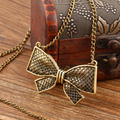17KM New Fashion Vintage punk Metal Bow Pendant Necklace Flower long Chain Necklaces Statement Jewelry for Women Collier