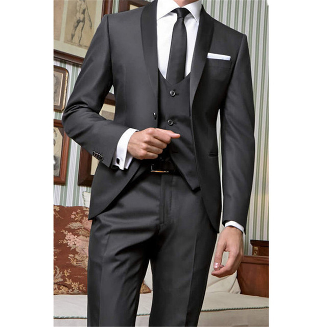 2019 Black Men 39 s Slim Fit Wedding Suits Men Custom Made Grooming Business Suits Costume Mariage Homme 3 Pieces Jacket Vest Pant in Suits from Men 39 s Clothing