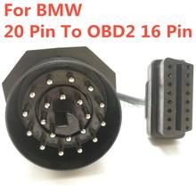 Najlepsze OBD OBD II Adapter dla BMW 20 PIN do OBD2 16 pinowe złącze żeńskie e36 e39 X5 Z3 dla BMW 20pin najnowszy darmowa wysyłka tanie tanio 12-24v 2018 Mechaniczne testerów 2 35inch 20 PIN To OBD2 16 pin Cable 7 75inch Metal And Plastic 0 2kg 9 08inch MB STAR Dig