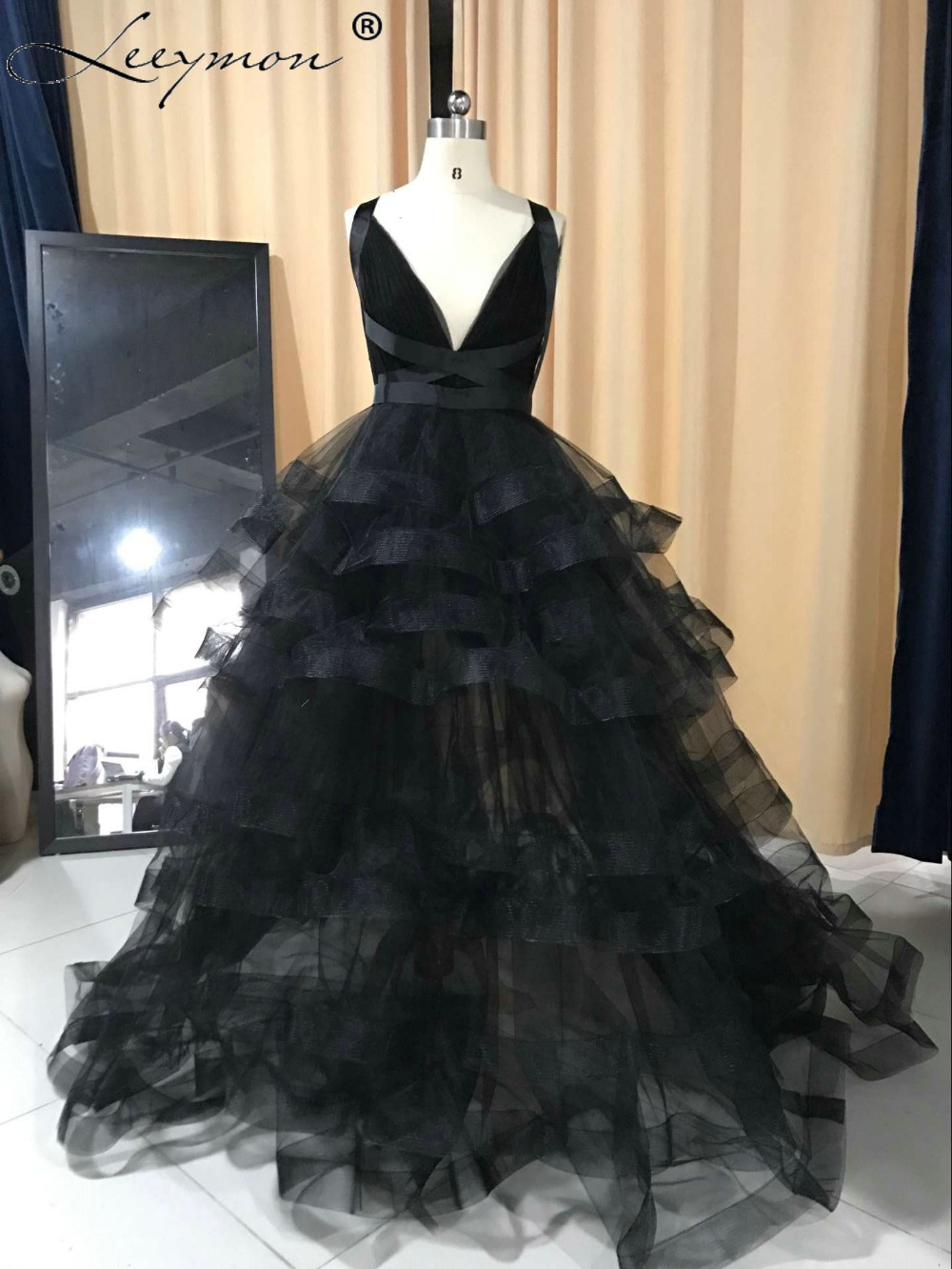 New Real Samples Classic Black Long Organza Sexy V Neck Evening Dresses 2018 Criss-Cross Party Gown Elegant Dress