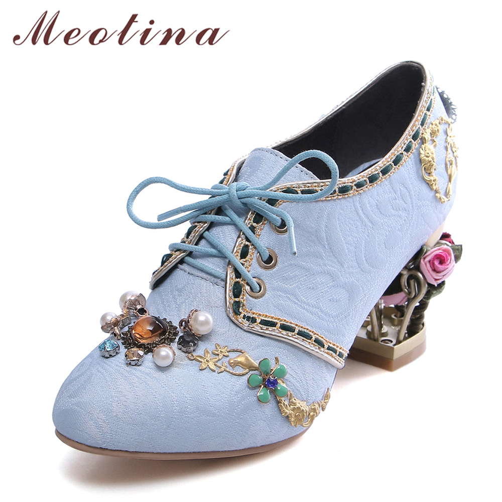 цена на Meotina High Heel Women Shoes Pumps Retro Style Lace up Women Party Shoes Casual Thick High Heels Big Size 34-43 Chaussure Femme