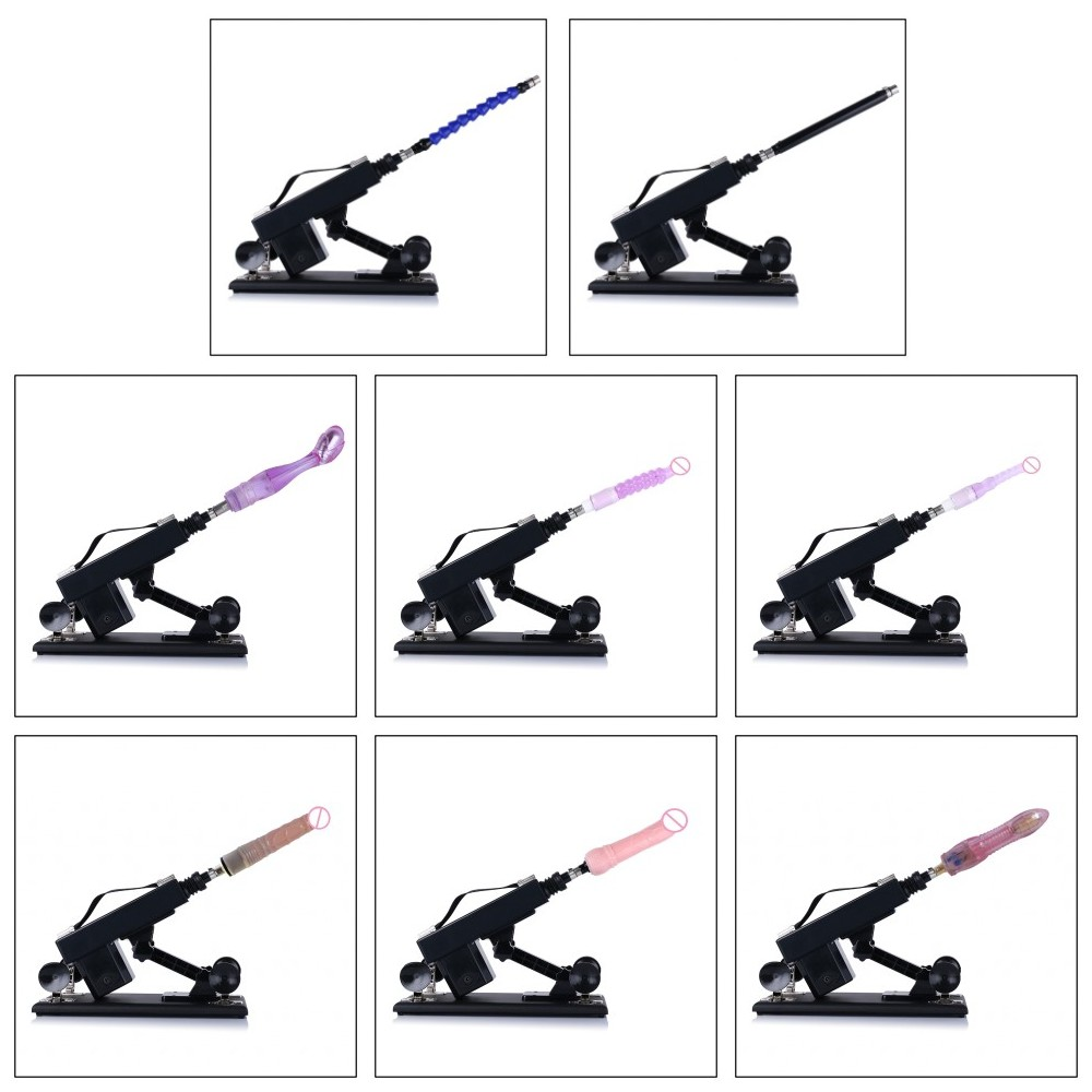 Automatic Sex Machine with vibrating dildos Retractable Pumping gun with 8PCS attachments Charger for any countries sex products