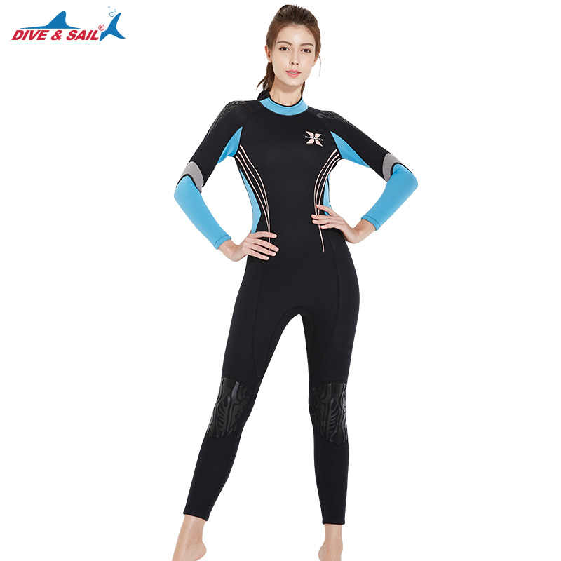 6d0c9dca59b 3MM Women Professional Scuba Neoprene One-Piece Full Body Diving Suits  Female Surfing Snorkeling Spearfishing