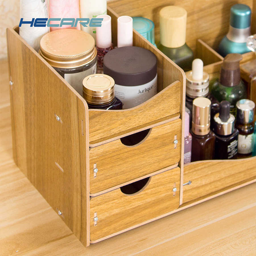 bf1522afcb36 HECARE Desktop Makeup Organizer Drawers Wooden Cosmetic Organizer Modern  Style DIY Organizers for Cosmetics Makeup Brushes New