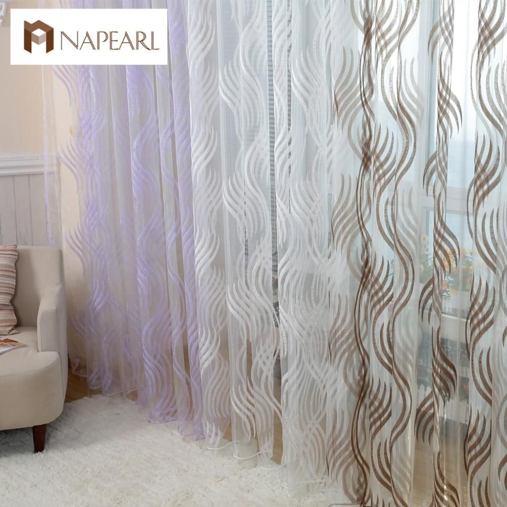 Modern Style Fashion Design Jacquard Striped Curtain Tulle Fabrics For Bedroom Window