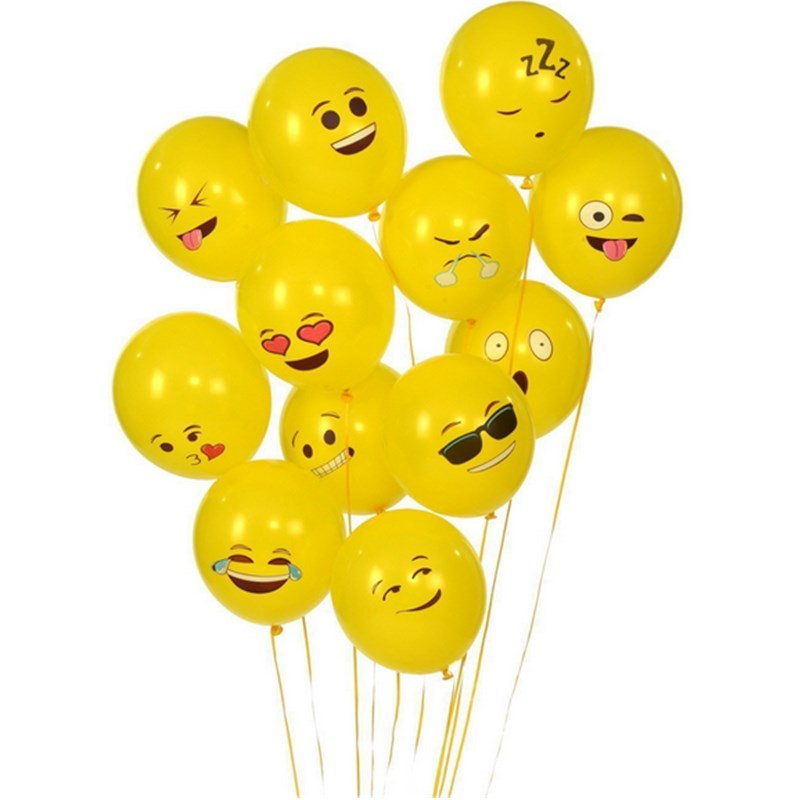 50Pcs 12 Emoji Smiley Face Expression Yellow Latex Balloons For Wedding/Birthday Party Decor Children Kids Gift