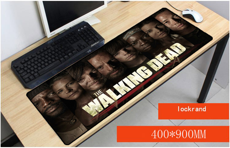 Yuzuoan Drop Shipping Walking Dead Keyboard Gaming Large Lock Edge Mouse Pads Size for 30x90x0.2cm And 90x4ocm Mousepads