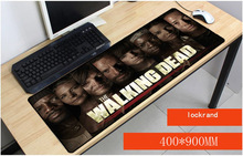 Купить с кэшбэком Yuzuoan Drop Shipping Walking Dead Keyboard Gaming Large Lock Edge Mouse Pads Size for 30x90x0.2cm And 90x4ocm Gaming Mousepads