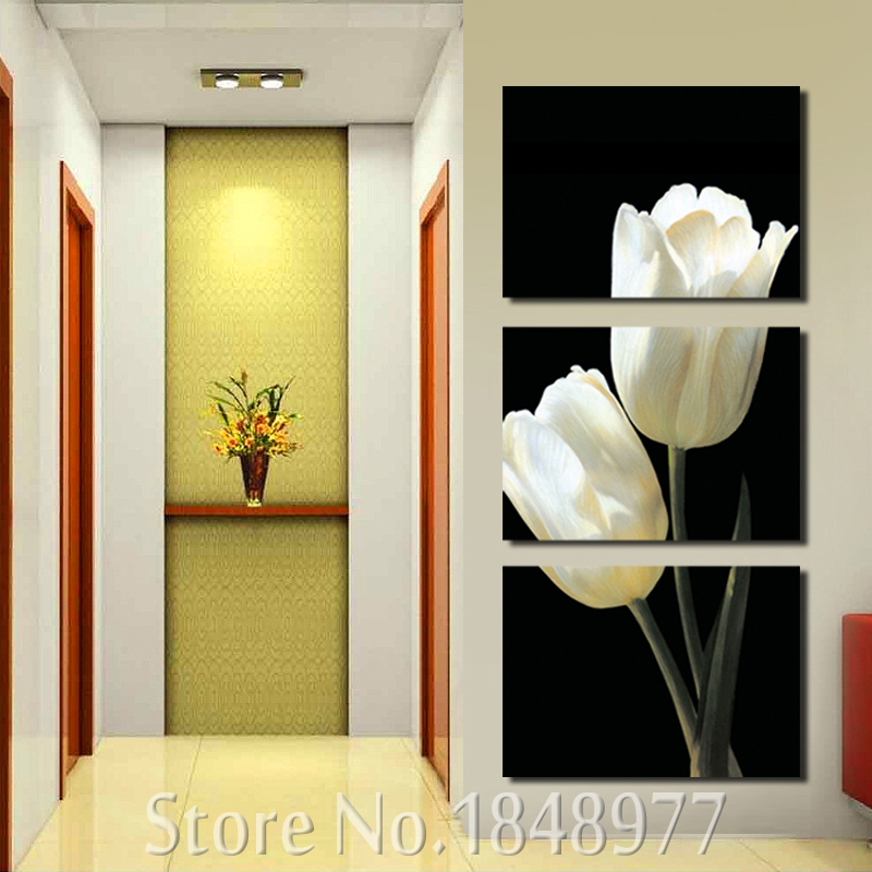 3 Pieces Beautiful Black White Tulip Flower HD Canvas Print Painting ...