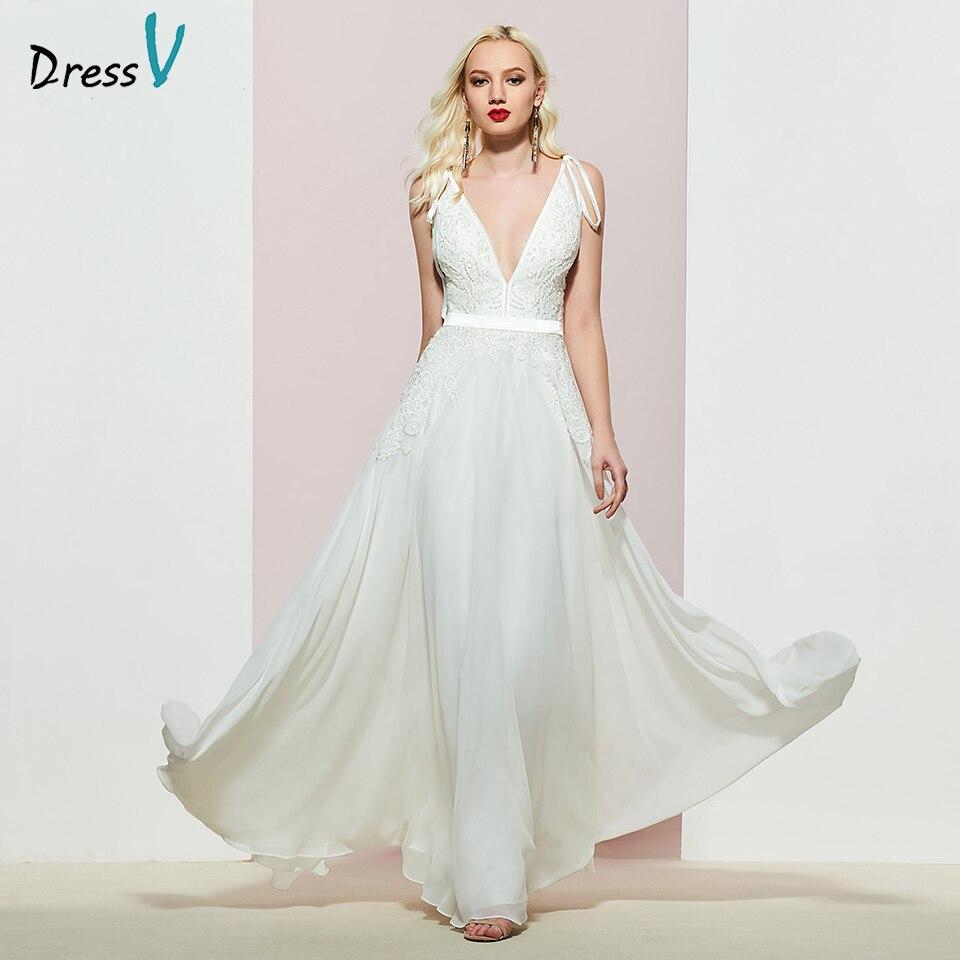 Dressv Party-Gown Beading Evening Elegant Long Sleeveless V-Neck A-Line Floor-Length