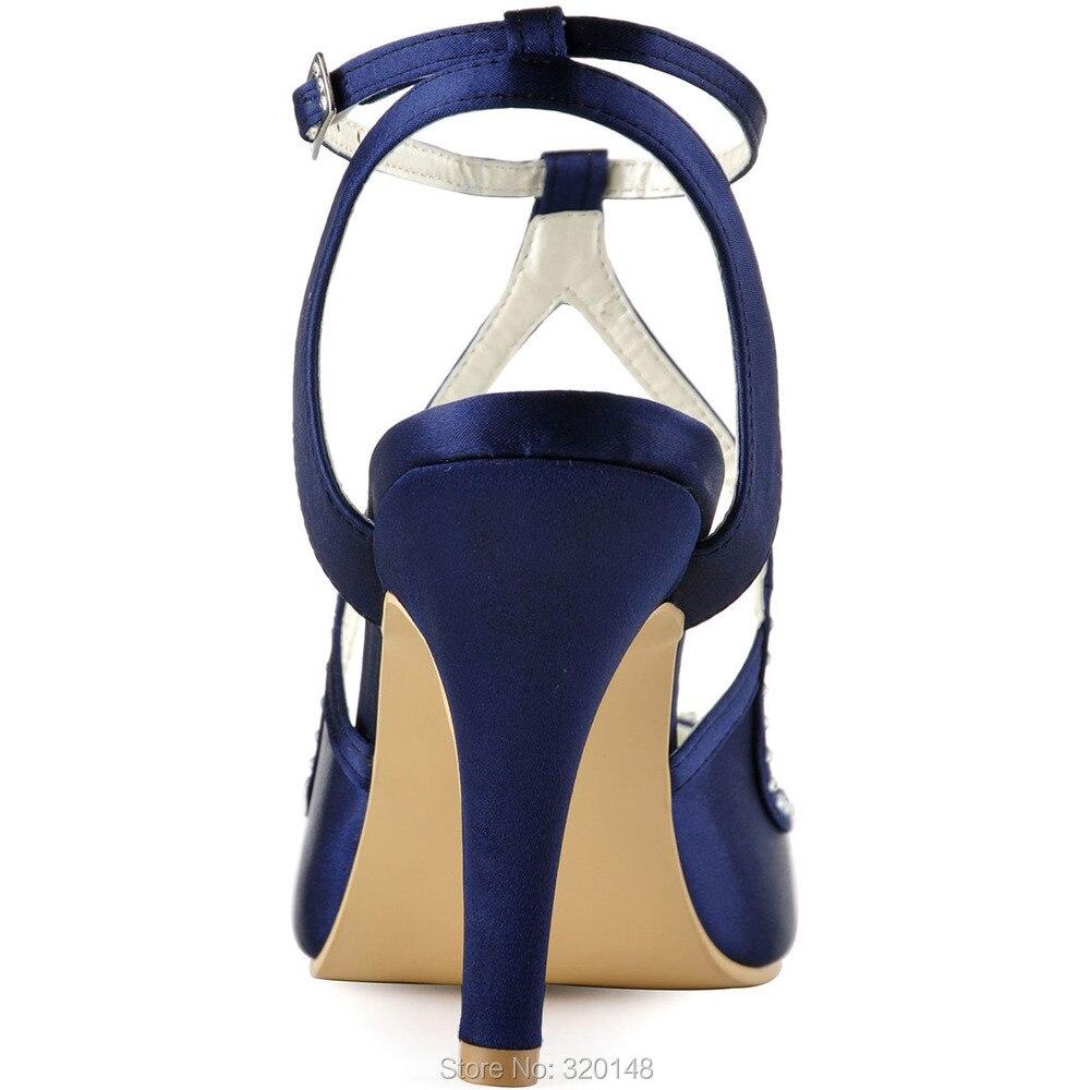 6146ea243ab16 Été Femmes Chaussures À Talons Hauts Bleu Marine Rose Strass perle ...