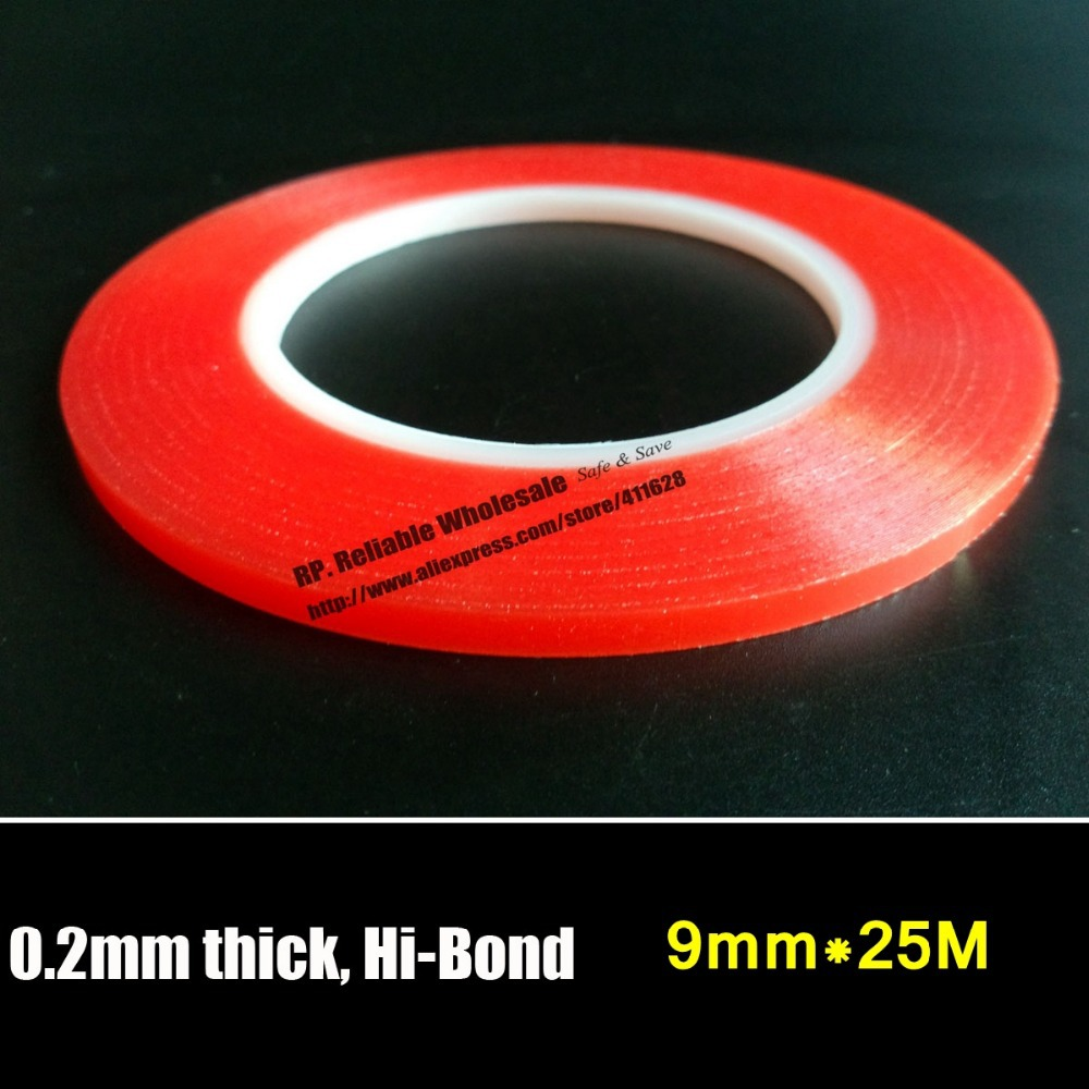 (0.2mm Thick), RP 9mm PET Super Strong Double Sides Acrylic Gel Adhesive Tape No Trace for Cellphone Screen Battery Repair 50 meters roll 0 2mm thick 2mm 50mm choose super strong adhesive double sided sticky tape for cellphone tablet case screen