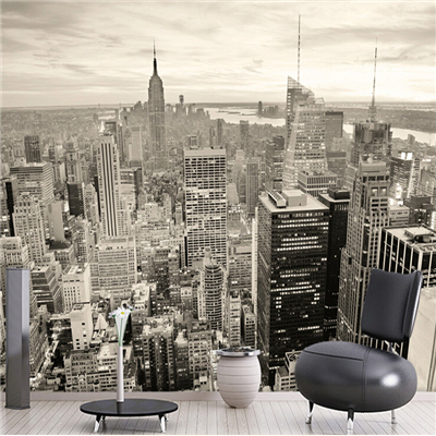 3d Stereo Personality Wallpaper New York City Black And