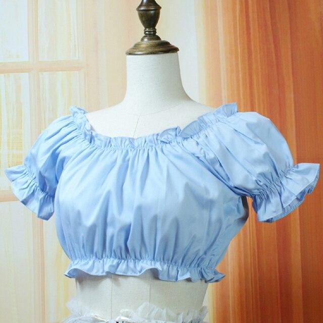 fd589b6609 5 colores verano mujeres Casual camisas cortas victoriana Vintage gasa  blusas Mujer lolita tops